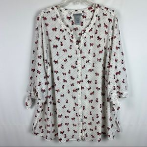 Catherines 1X Blouse Scotty Dog Print Button Front